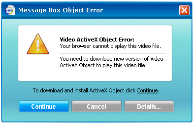Pc in danger: video activex object.